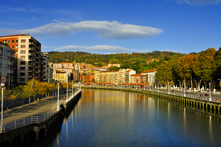 ria: a view of the Estuary of Bilbao crossing the city, in Bilbao, Spain