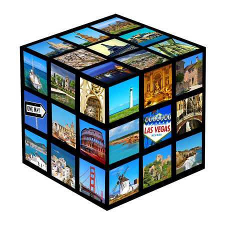 cube with pictures of different landscapes and landmarks, shot by myself photo