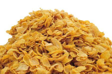 corn flakes: un tas de flocons de ma�s sur un fond blanc