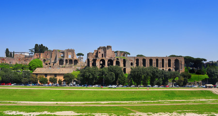 massimo: Ruins of Circus Maximus and the Domus Augustana on Palatine Hill in Rome, Italy Editorial