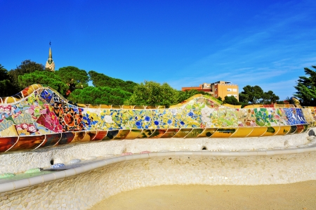 Barcelona, Spain - September 16, 2013 Park Guell in Barcelona, Spain  The park was built between 1900 and 1914 and is part of the UNESCO World Heritage Site Works of Antoni Gaudi