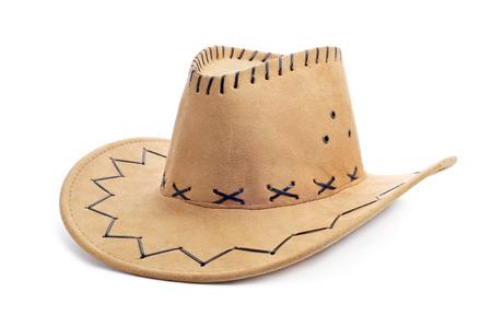 a leatherette cowboy hat on a white background Reklamní fotografie