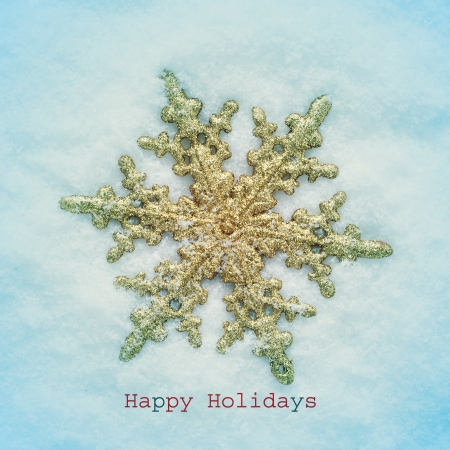 holiday message: a christmas star on the snow and the sentence happy holidays, with a retro effect