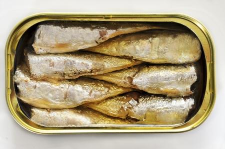 sardinas: una lata de sardinas abierta sobre un fondo blanco