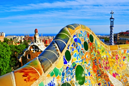 antoni: Barcelona, Spain - September 16, 2013  Park Guell in Barcelona, Spain  The park was built between 1900 and 1914 and is part of the UNESCO World Heritage Site Works of Antoni Gaudi