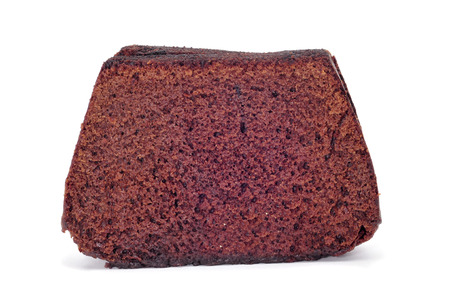 some slices of chocolate sponge cake on a white background Stock Photo