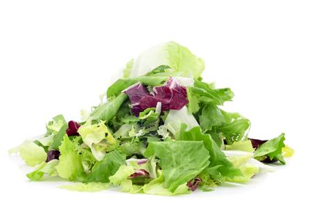 endivia: Primer plano de un montón de mezclum, una mezcla de hojas de ensalada variadas, sobre un fondo blanco Foto de archivo