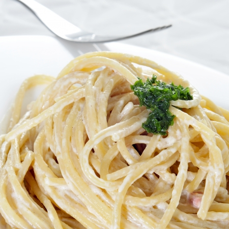 closeup of a plate with spaghetti carbonara photo