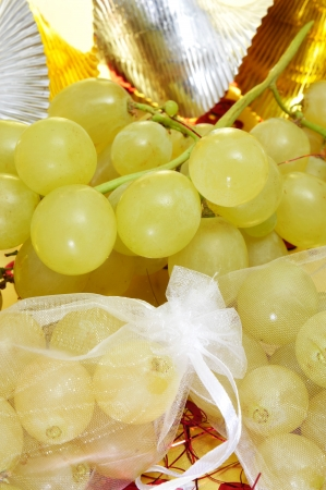sachets: sachets with the spanish twelve grapes of luck, traditional on the New Year in Spain