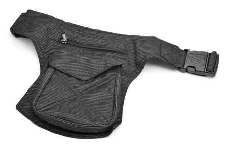 fanny: a denim hip bag with different pockets on a white background