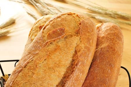 panino: primer plano de algunos baguettes demi o bollos de pan en una cesta, con espigas de trigo en el fondo