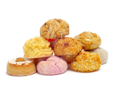 all saints  day: a pile of panellets, typical pastries of Catalonia, Spain, eaten in All Saints Day