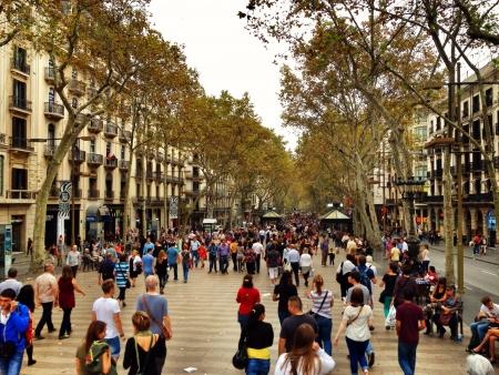 Las Ramblas in Barcelona Spain Фото со стока