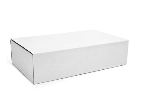 a white cardboard box on a white background photo