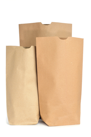 some grocery paper bags on a white background photo