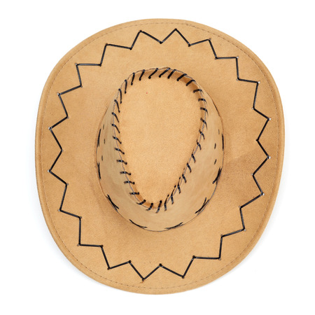 a leatherette cowboy hat on a white background