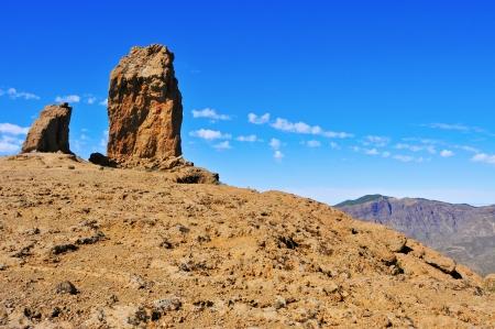 monolith: a view of Roque Nublo monolith in Gran Canaria, Spain
