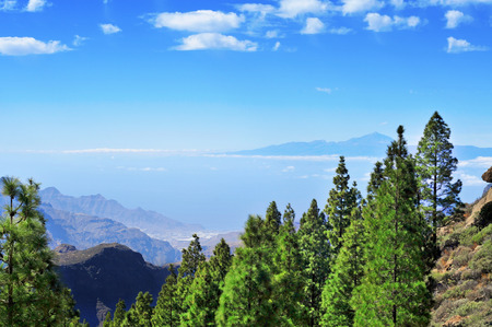 canaria: Tenerife Island and Mount Teide seen from the Llano del Roque Nublo in Gran Canaria Island, Spain Stock Photo