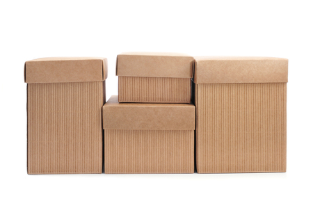 some cardboard boxes with lid on a white background photo