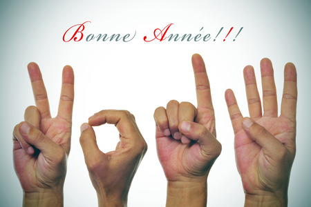 bonne: sentence bonne annee, happy new year written in french, and hands forming number 2014