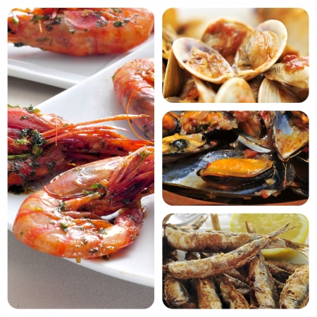 gambas: collage of different spanish seafood tapas, such as boquerones fritos, gambas al ajillo or mejillones a la marinera
