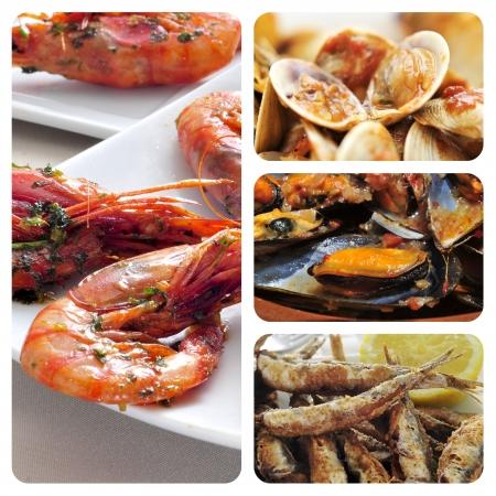 almejas: collage of different spanish seafood tapas, such as boquerones fritos, gambas al ajillo or mejillones a la marinera