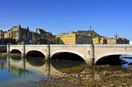 parte: view of Kursaal Bridge above Urumea River in San Sebastian, Spain