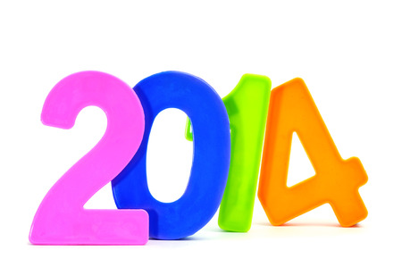 two thousand and fourteen: 2014, as the new year, written with numbers of different colors on a white background