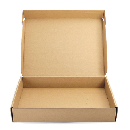 corrugated box: an open cardboard box on a white background