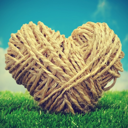 picture of a heart-shaped coil of rope on the grass with a retro effect photo