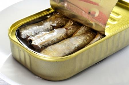sardinas: primer plano de una lata abierta de sardinas en un plato