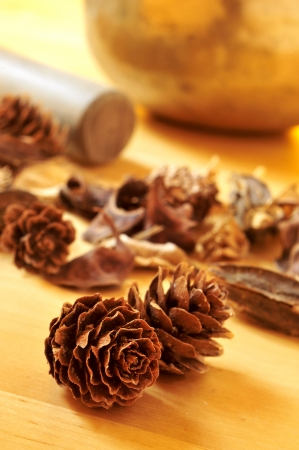 some pine cones and dried flowers and leaves on a table and a tibetan singing bowl in the background photo