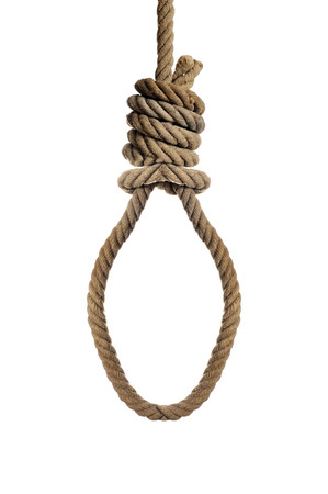 capital punishment: an old hemp rope with a hangmans noose on a white background