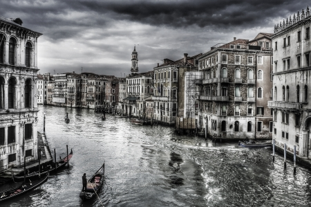 moorings: a view of the Grand Canal in Venice, Italy