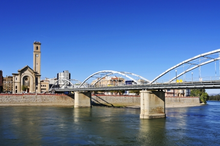 ebre: view of the Ebro River passing through Tortosa, Spain Stock Photo