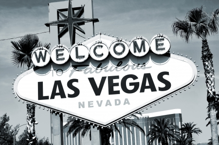 Welcome to Fabulous Las Vegas sign in black and white