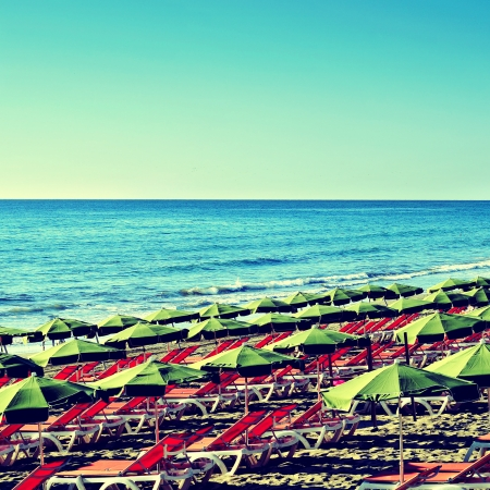 picture of Playa del Ingles beach in Gran Canaria, Canary Islands, Spain, with a retro effect photo