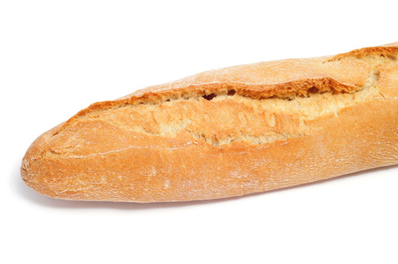 closeup of a spanish long loaf bread on a white background Foto de archivo