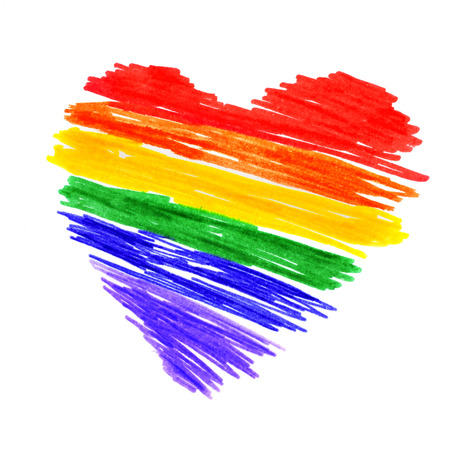 bisexual: a rainbow heart on white