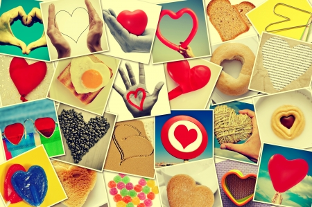 a collage of different snapshots of hearts and heart-shaped things shot by myself, with a retro effect photo