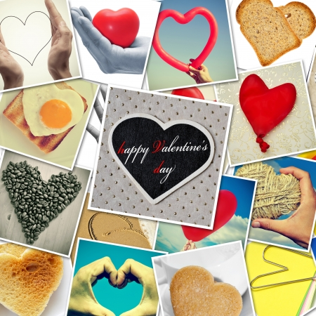 a collage of different snapshots of hearts and heart-shaped things photo