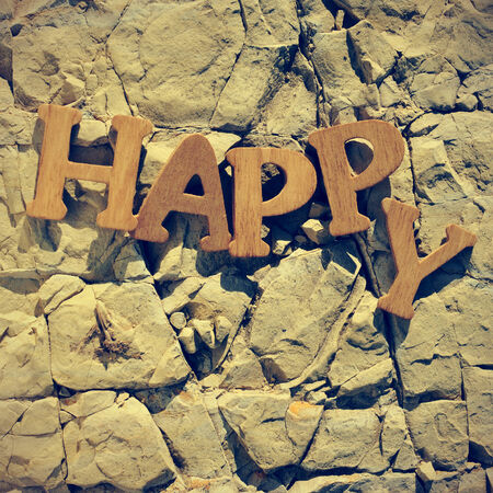 wooden letters forming word happy on a cracked stone  photo