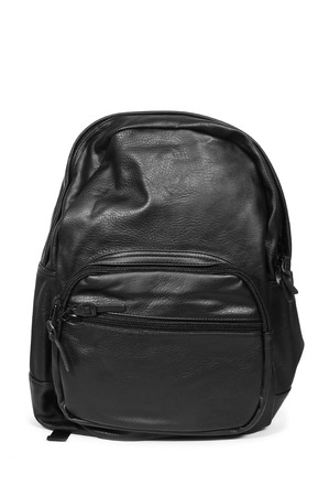 knapsack: a black leather backpack on a white background