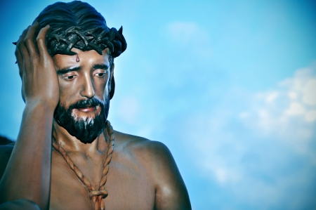 a figure of Jesus Christ with the crown of thorns in the way to Calvary Stock Photo