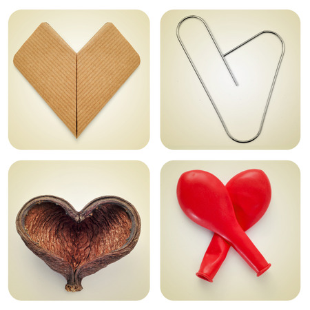 a collage of different heart-shaped things, with a retro effect photo
