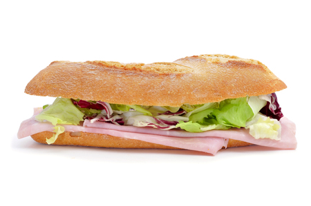 panino: a sandwich with ham and vegetables on a white background