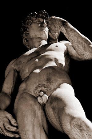 the replica of the David by Michelangelo located in Piazza della Signoria in Florence, Italy