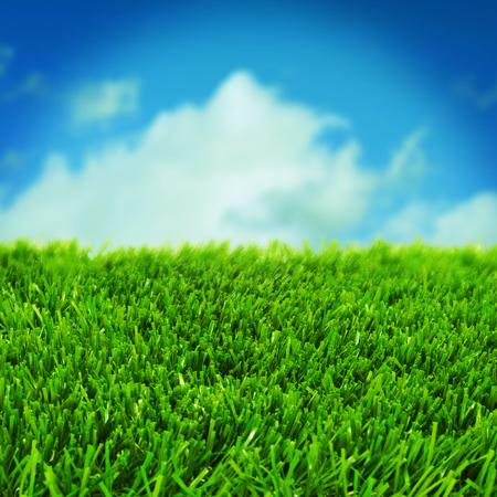 pasto sintetico: primer plano de hierba sobre el cielo azul con un efecto retro