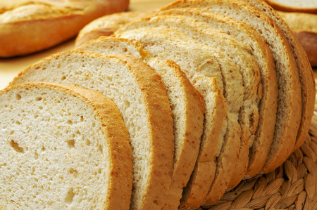 closeup of some slices of pan de payes, a round bread typical of Catalonia, Spain photo