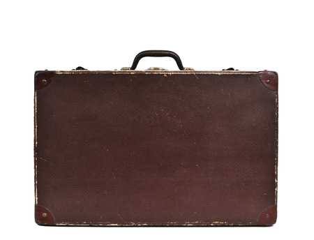 antique suitcase: an antique suitcase on a white background